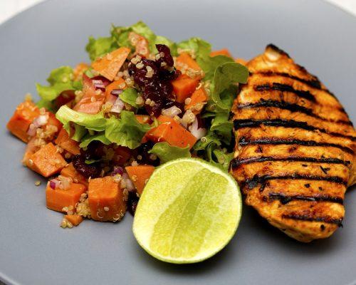 grilled chicken, quinoa, salad
